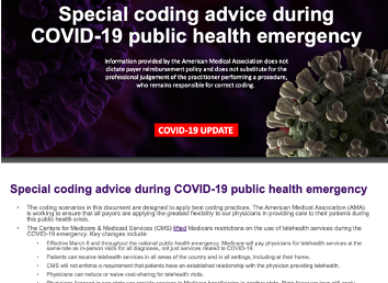 Special Coding Advice During COVID-19 from the AMA